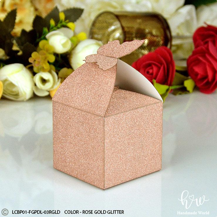 Fine Plain Smooth Glitter Favor Box Lcbp01