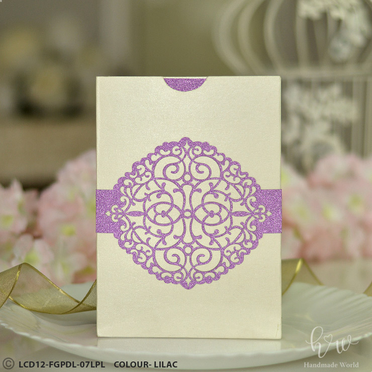 Classic Filigree Smooth Glitter Die Cut Wedding Invitation Belly Bands Lcd12