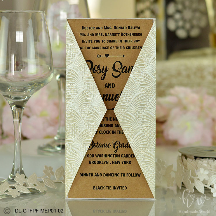 Pleasant Floral Glisten Embossed Paper Pocket Baby Naming Ceremony Invitation Dl Gtfpf01