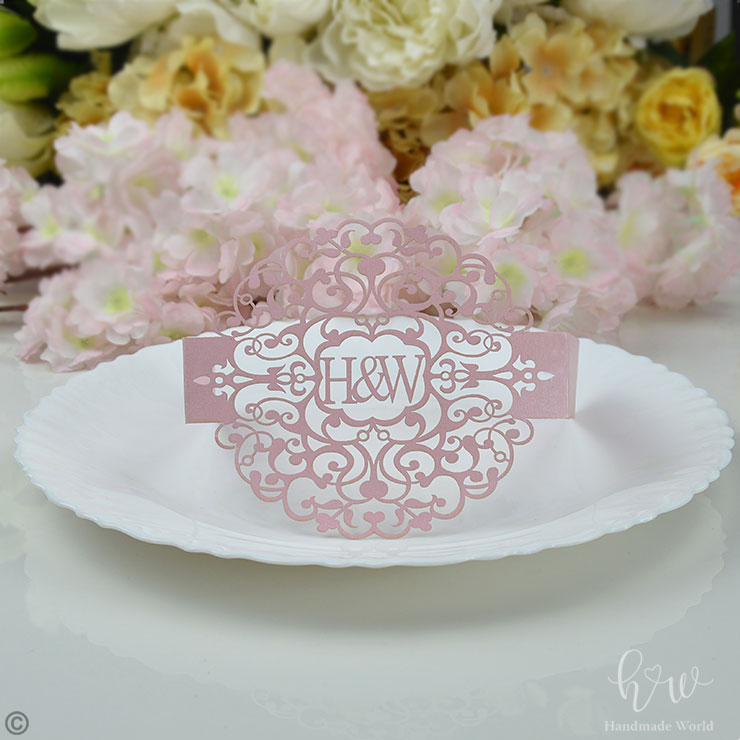 Beautiful Filigree Glimmer Laser Cut Wedding Invitation Belly Bands-LCD17-CS