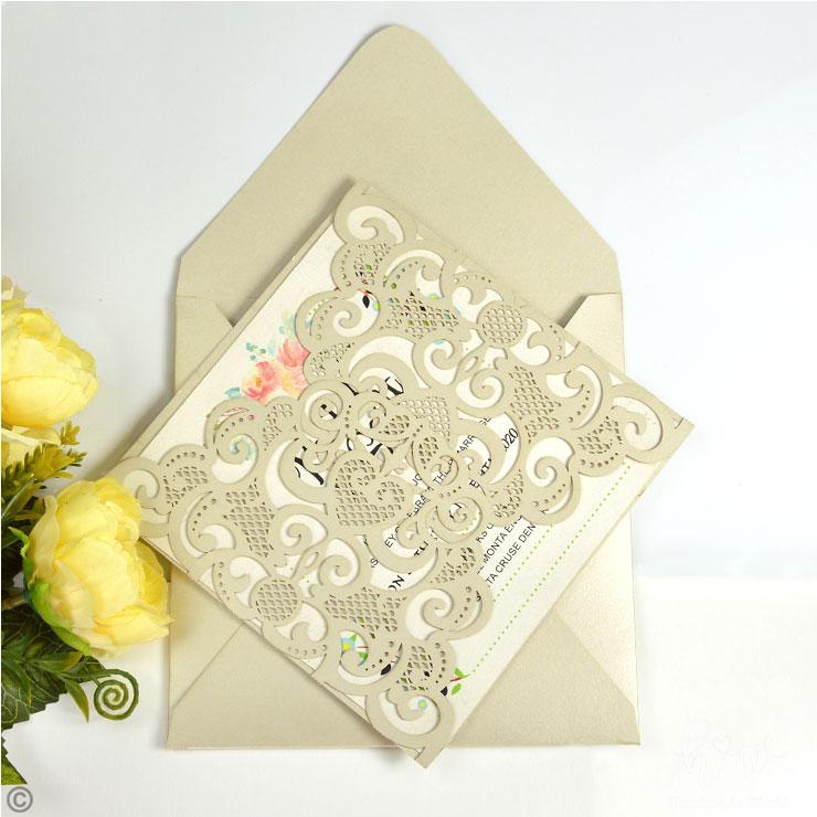 Classical Filigree Shimmer Die Cut Birthday Invitation Cards-LCS10-CS