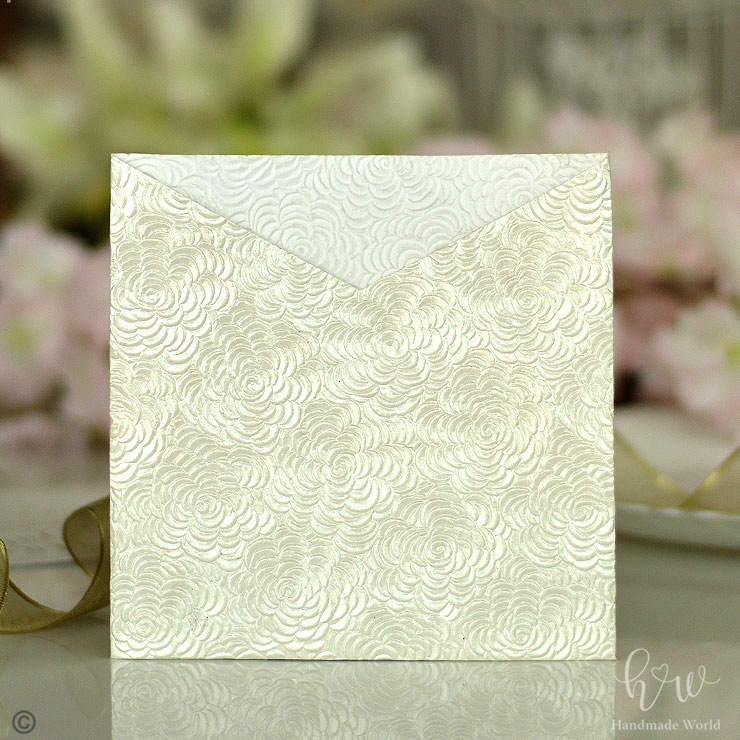 Spectacular Flower Twinkling Textured Paper Pocket Fold Invitation Sq Sngv02