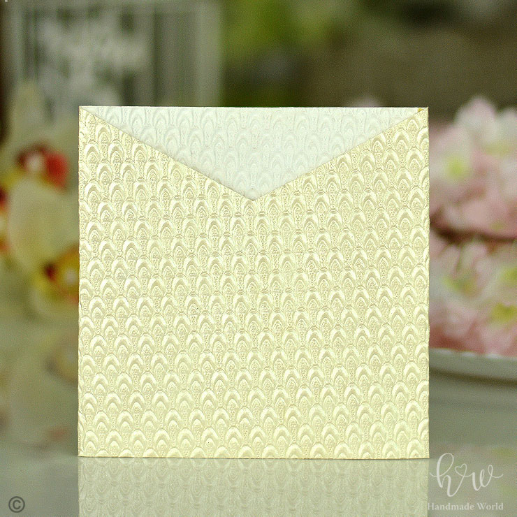 Captivating Peacock Feather Shine Embossed Paper Wedding Ceremony Card Sq Sngv16