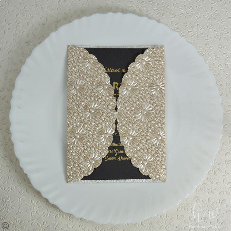 Smug Round Flower Pearl Textured Paper Wedding Dinner Invitation 7x5 Gtfrf07